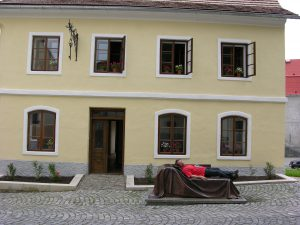 Patient in Front of his Birthplace in Prbor | Czechia